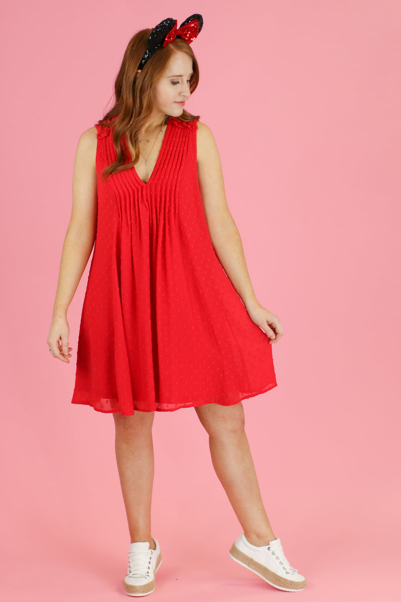 S / Tomato Time is Yours Swiss Dot Dress - Madison and Mallory