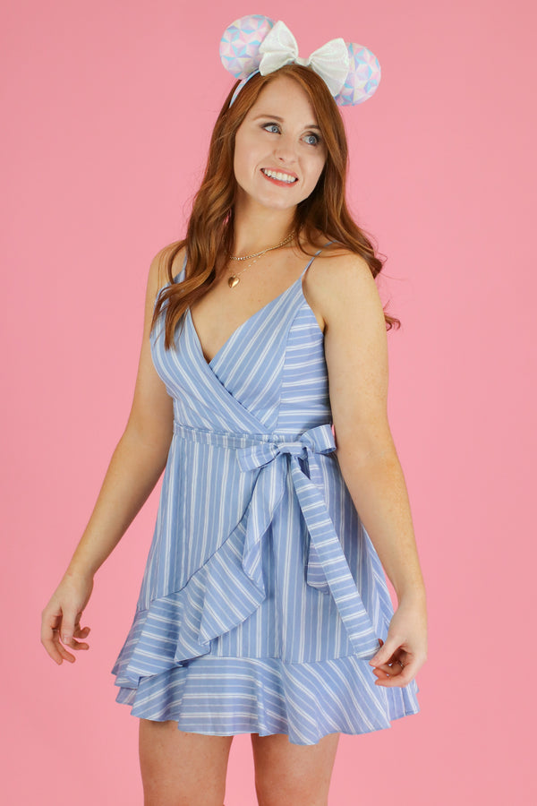 S / Light Blue Jessie Striped Tie Waist Dress - FINAL SALE - Madison and Mallory