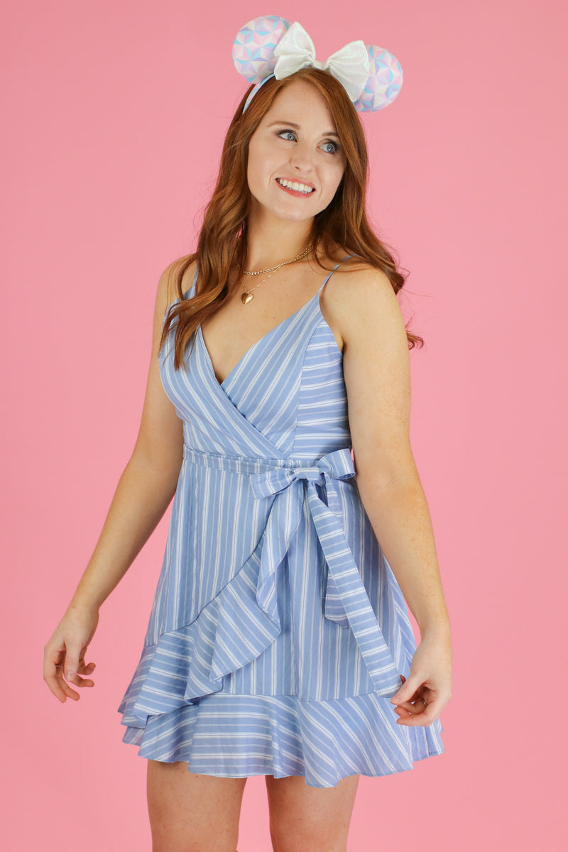 S / Light Blue Jessie Striped Tie Waist Dress - Madison and Mallory