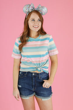 S / Jade Topic of Gossip Striped Top - FINAL SALE - Madison and Mallory