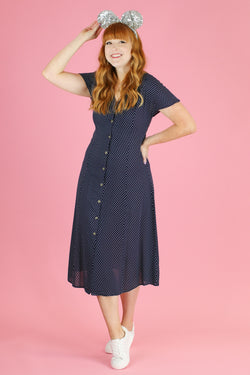 S / Navy Practically Perfect Polka Dot Dress - Madison and Mallory