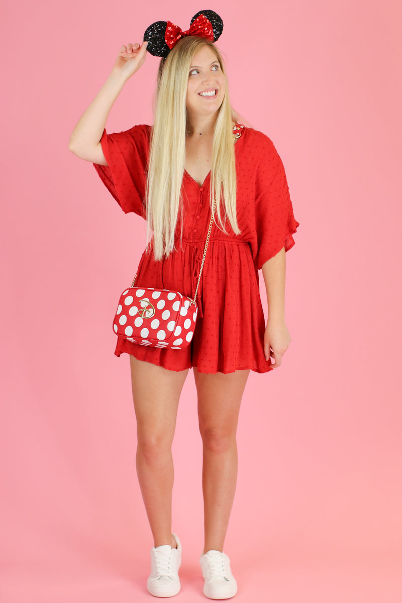 S / Red No Place Like It Swiss Dot Romper - FINAL SALE - Madison and Mallory