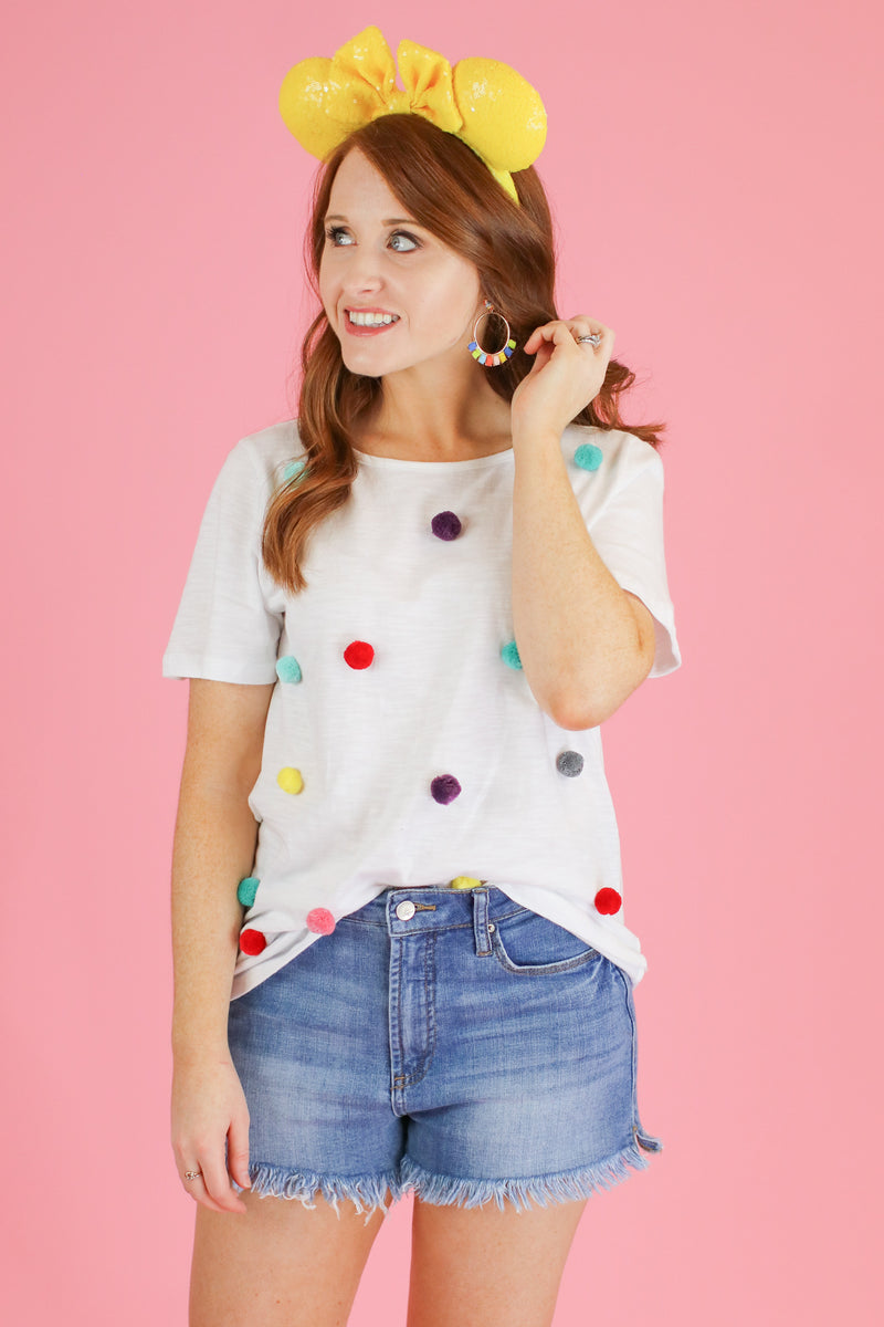 S / Off White Whimsical Wonder Pom Pom Accent Top - Madison and Mallory