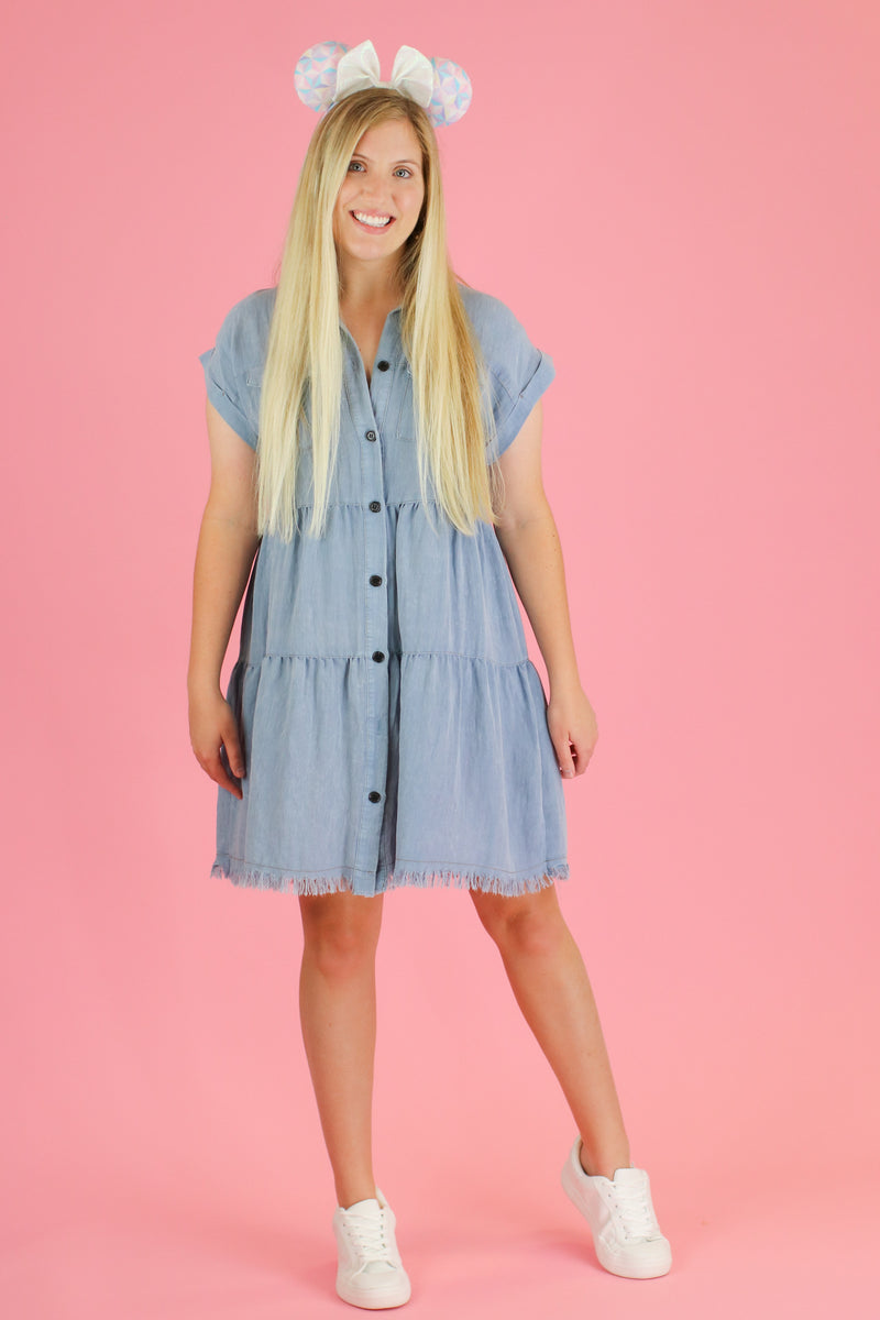 Light Denim / S Frontier Tiered Ruffle Dress | CURVE - Madison and Mallory