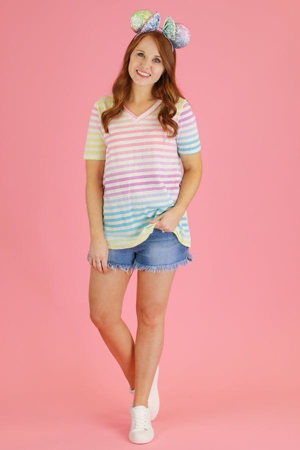 Bright Future Multi Stripe Top | CURVE - Madison and Mallory