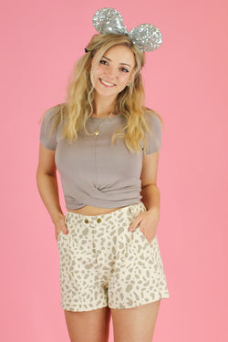 S / Beige Safari Animal Print Shorts - Madison and Mallory