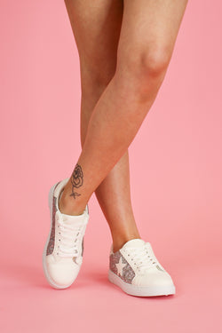 Silver / 5.5 Get On Your Level Star Accent Sneakers - Silver - Madison and Mallory
