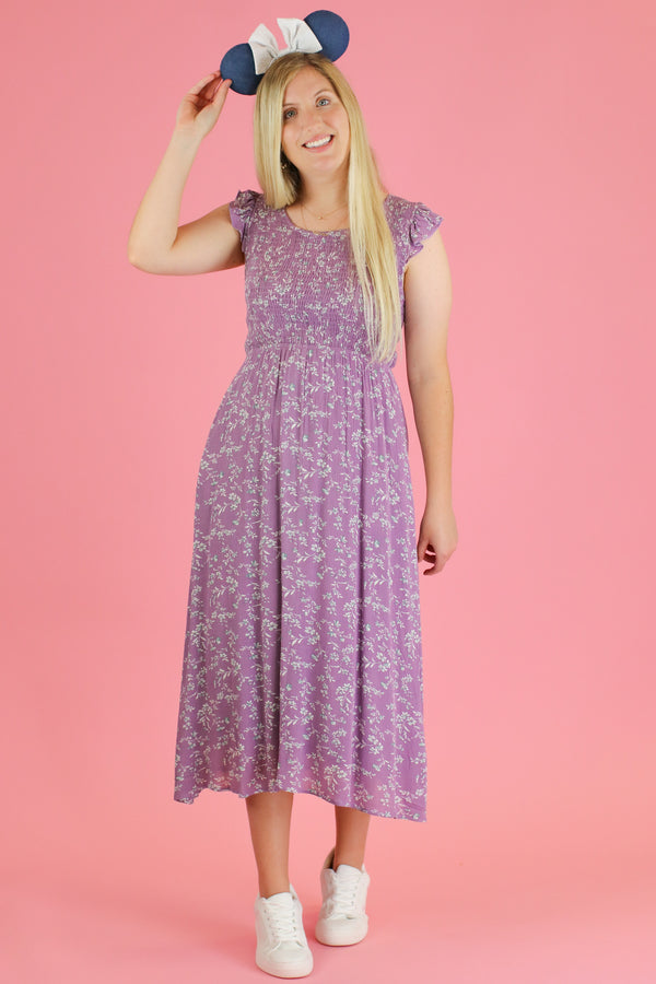 S / Lavender Gleam and Glow Floral Midi Dress - FINAL SALE - Madison and Mallory