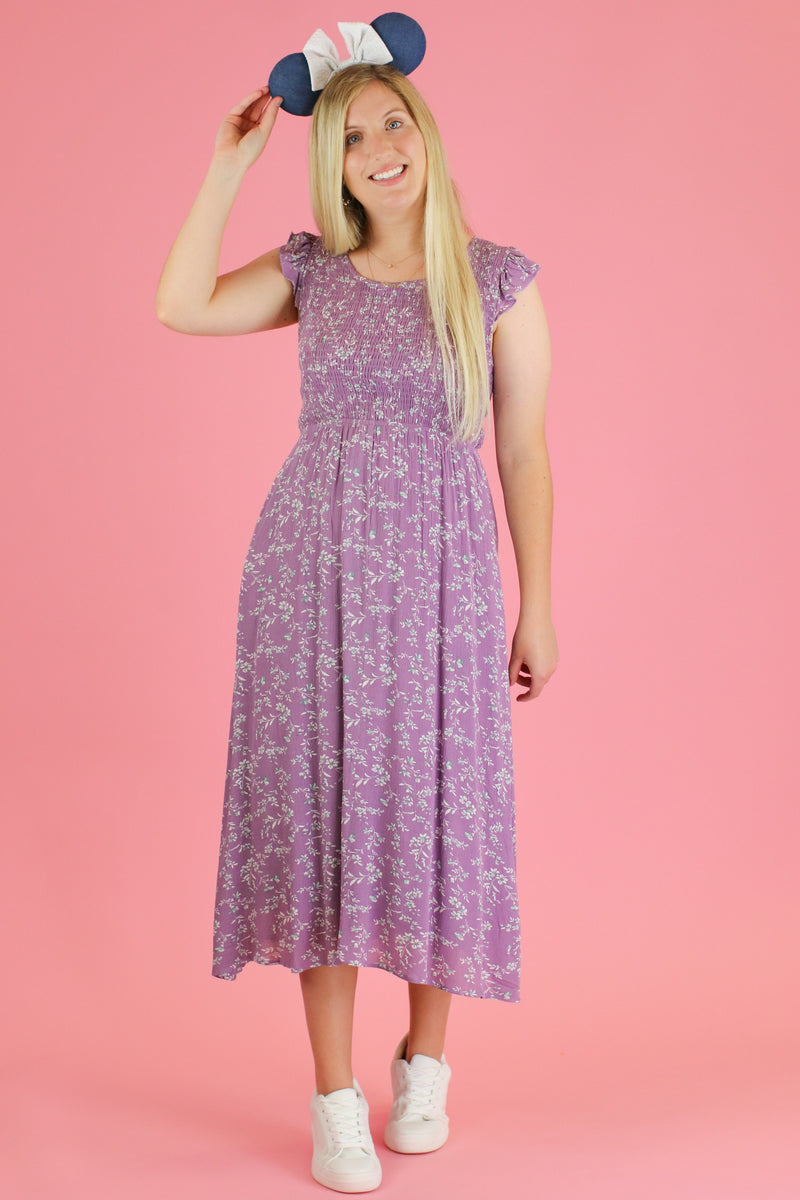 S / Lavender Gleam and Glow Floral Midi Dress - Madison and Mallory