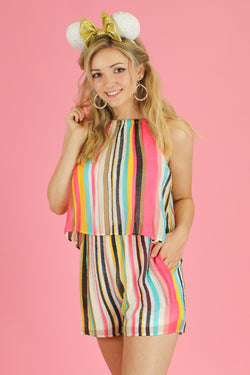 S / Coral Look for Happiness Stripe Romper - FINAL SALE - Madison and Mallory