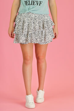 Off White / S Drizella Floral Ruffle Skort - Madison and Mallory