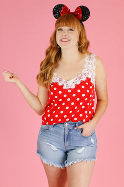 S / Red Beautiful Reason Polka Dot Lace Top - Madison and Mallory