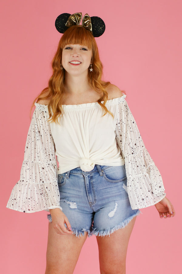 White / S Alternate Dimension Off Shoulder Star Top - Madison and Mallory