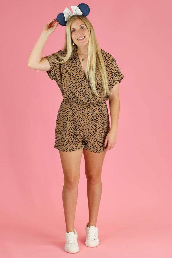 Expedition Leopard Surplice Romper - Madison and Mallory