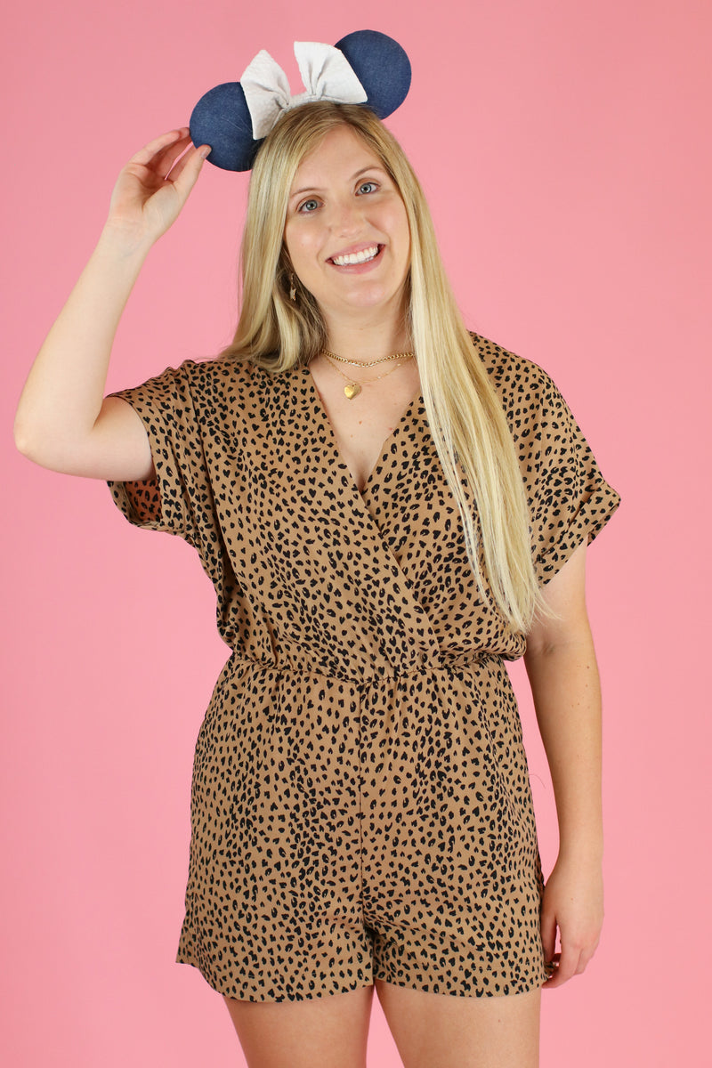 S / Taupe Expedition Leopard Surplice Romper - Madison and Mallory