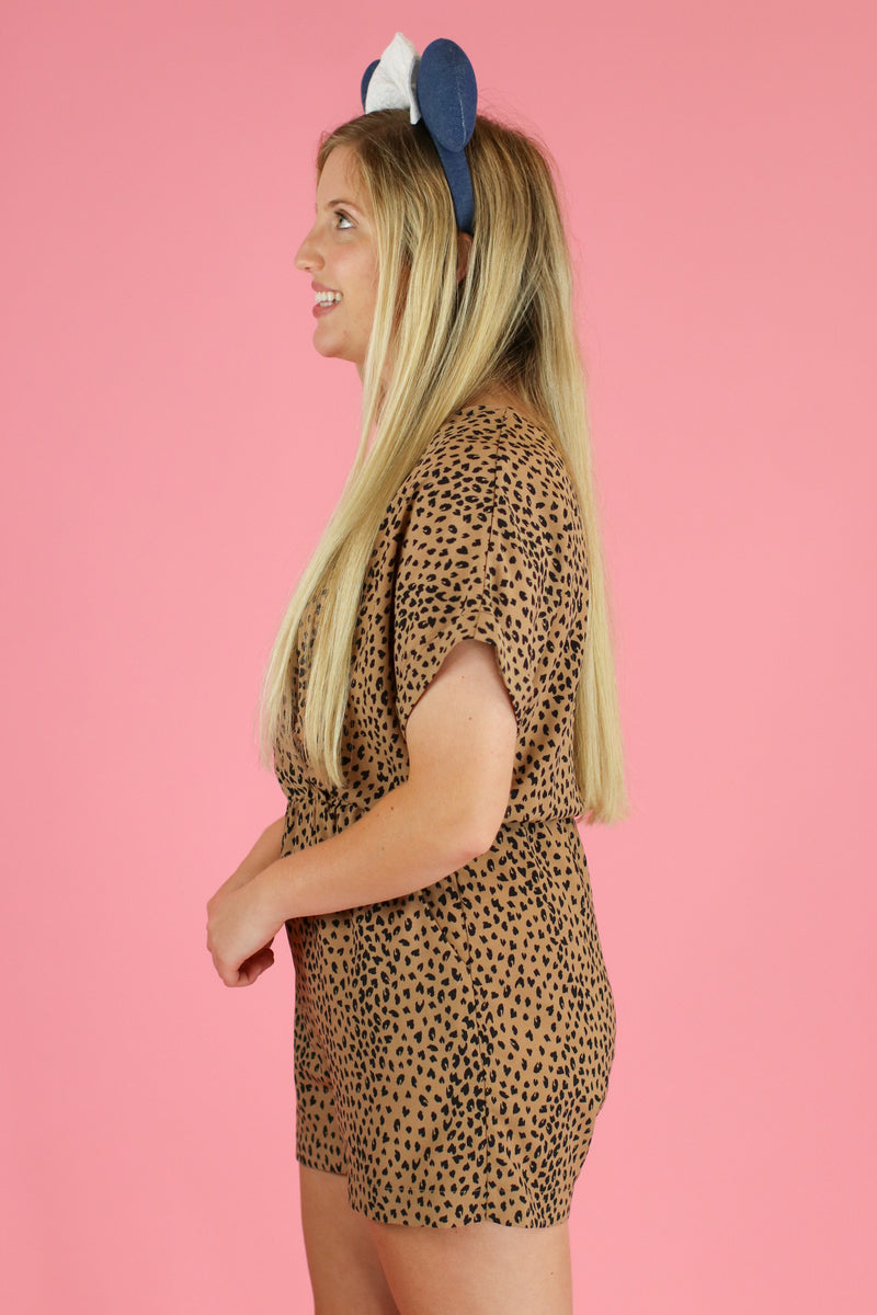 Expedition Leopard Surplice Romper - FINAL SALE - Madison and Mallory