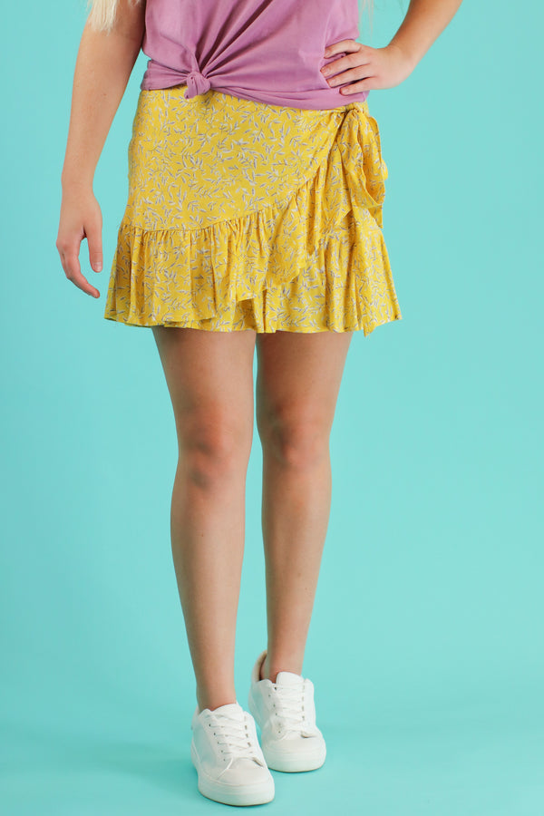S / Lemon Merryweather Floral Ruffle Wrap Skirt - Madison and Mallory