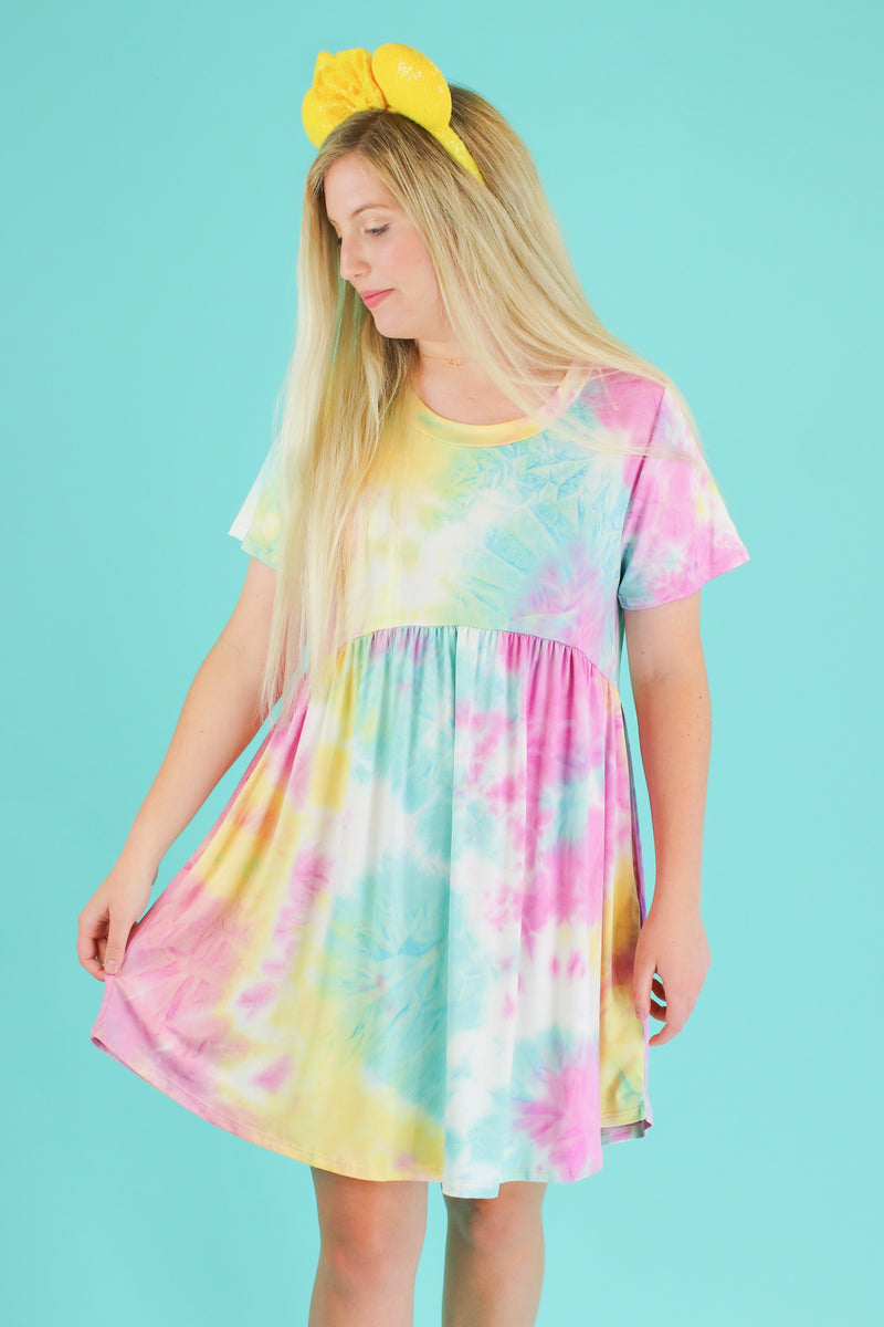 S / Pink Snow Cone Tie Dye Babydoll Dress | CURVE - Madison and Mallory