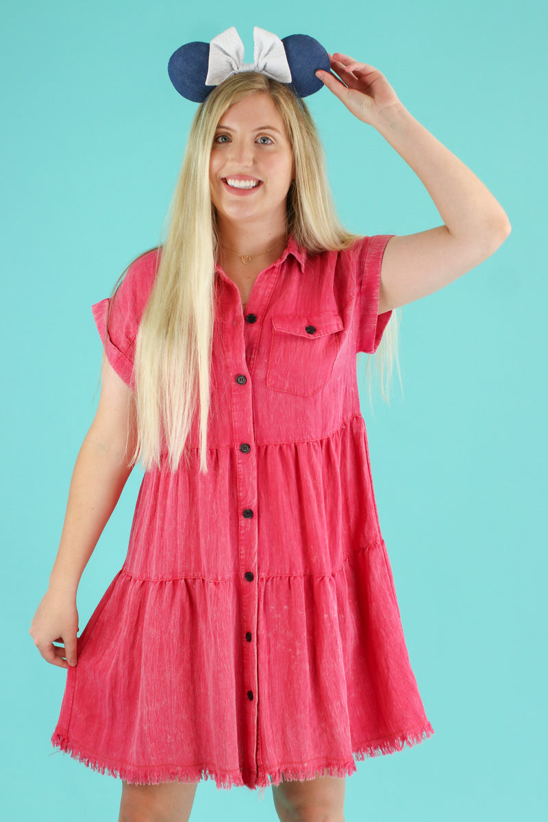 Hot Pink / S Frontier Tiered Ruffle Dress | CURVE - FINAL SALE - Madison and Mallory