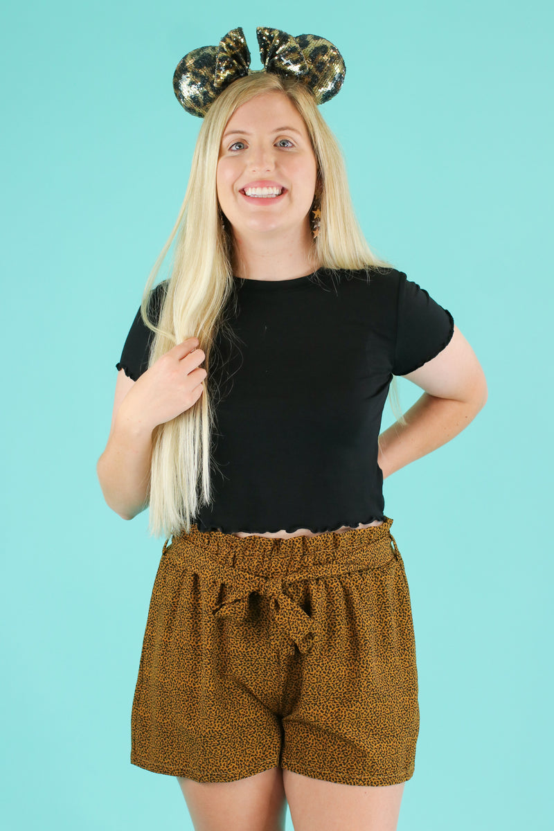 S / Mustard Shere Khan Tie Waist Shorts - Madison and Mallory