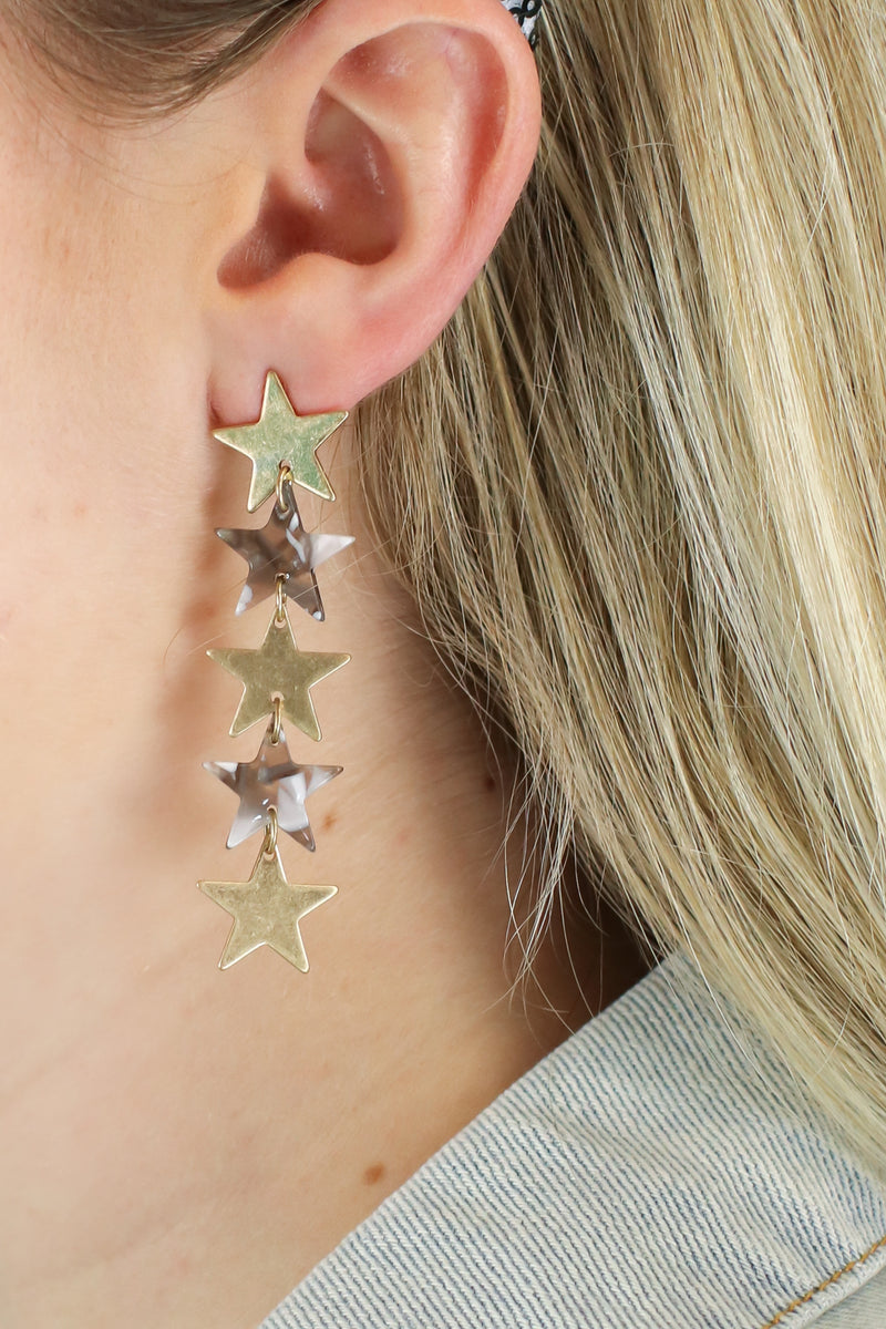 Gray Rising Star Dangle Earrings - Madison and Mallory