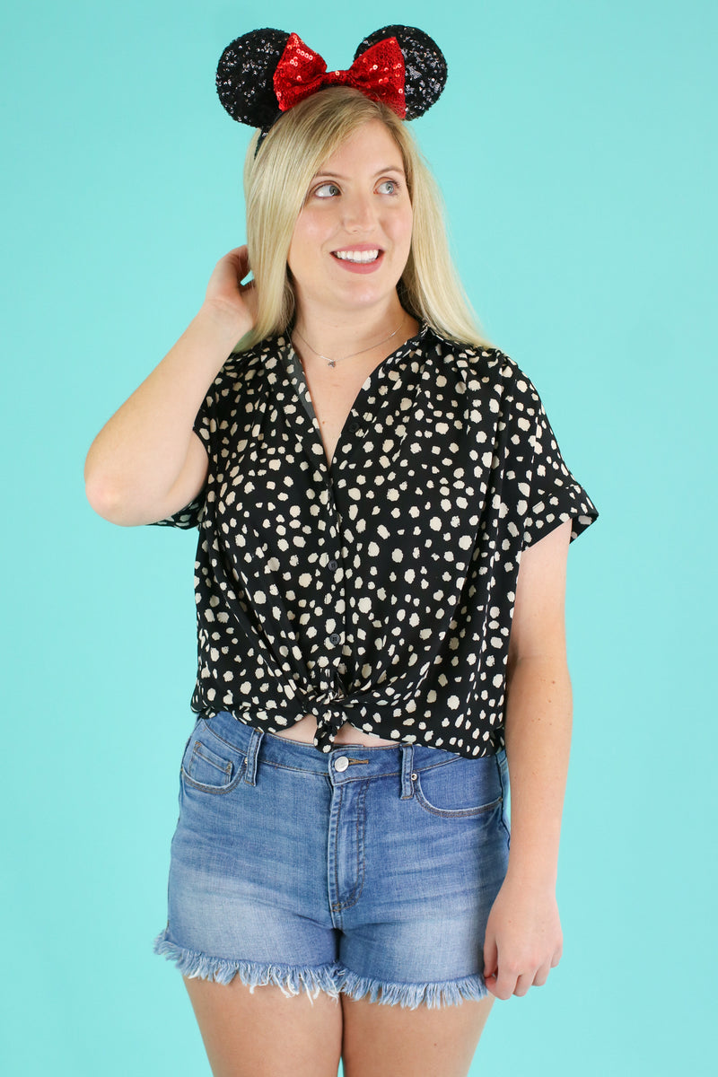 Black / S Fauna Polka Dot Button Up Top - Madison and Mallory