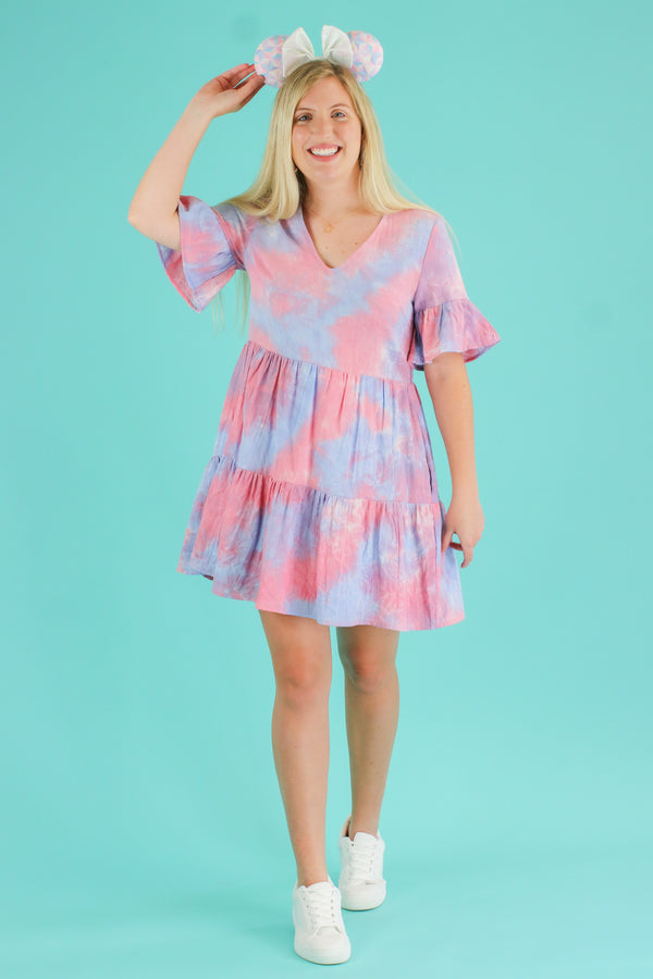 Finding Paradise Tie Dye Ruffle Dress | CURVE - Madison and Mallory