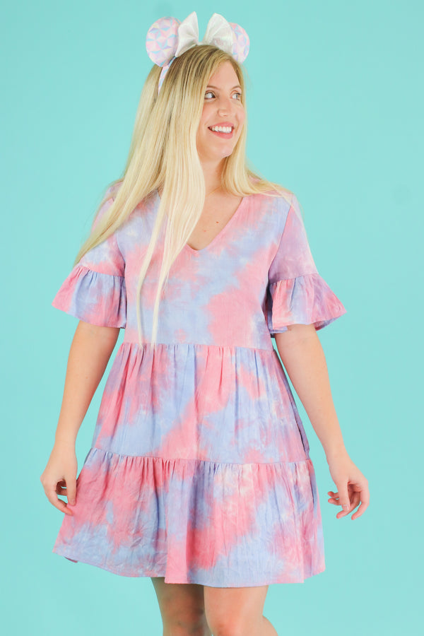 S / Pink Finding Paradise Tie Dye Ruffle Dress | CURVE - Madison and Mallory