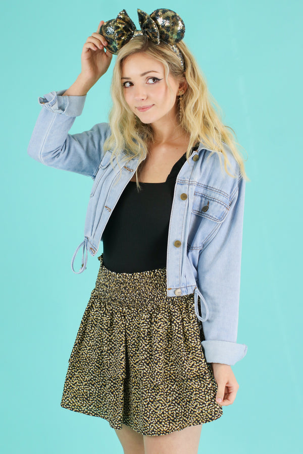 Black / S Corin Tiered Leopard Skirt - Madison and Mallory