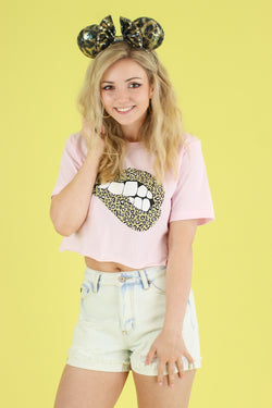 Pink / S Oh So Wild Animal Print Lips Graphic Top - FINAL SALE - Madison and Mallory
