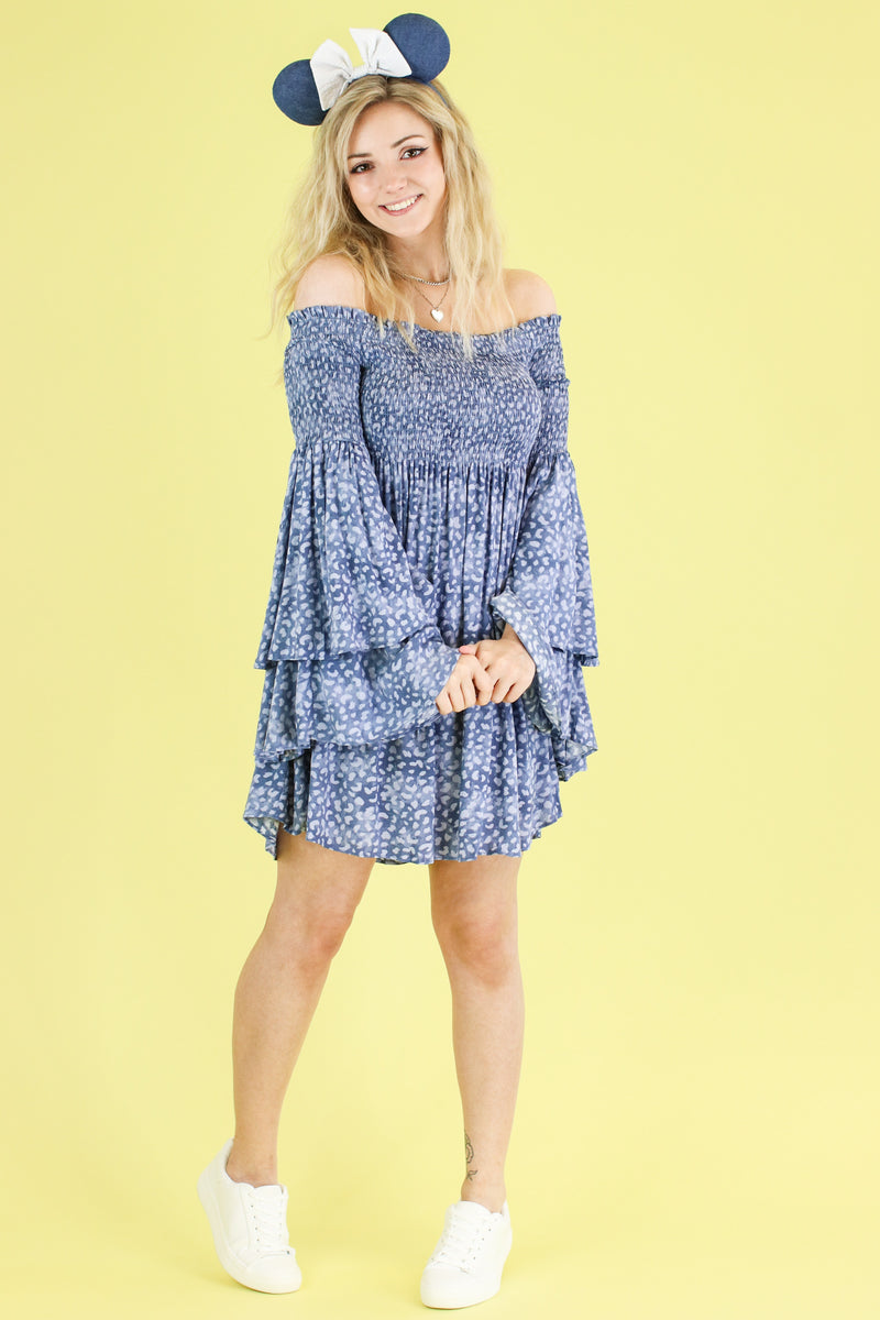 Narrative Off Shoulder Bell Sleeve Dress - Madison and Mallory