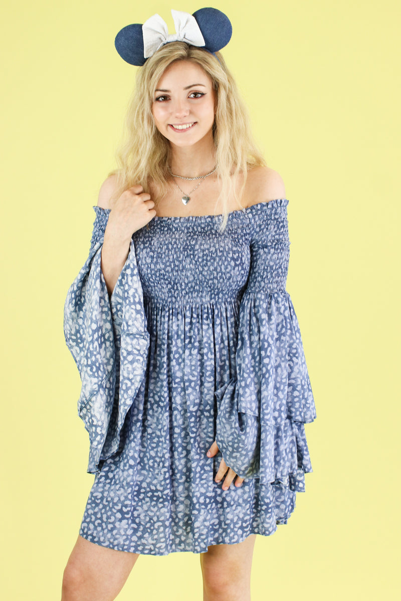 S / Denim Narrative Off Shoulder Bell Sleeve Dress - Madison and Mallory