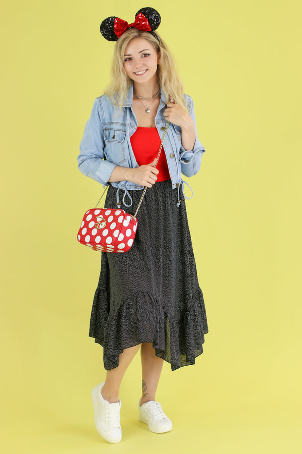 S / Black In a World of My Own Polka Dot Skirt - FINAL SALE - Madison and Mallory