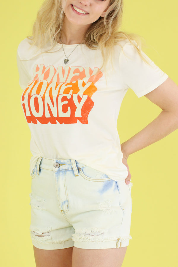 S / Off White Honey Vintage Graphic Top - Madison and Mallory
