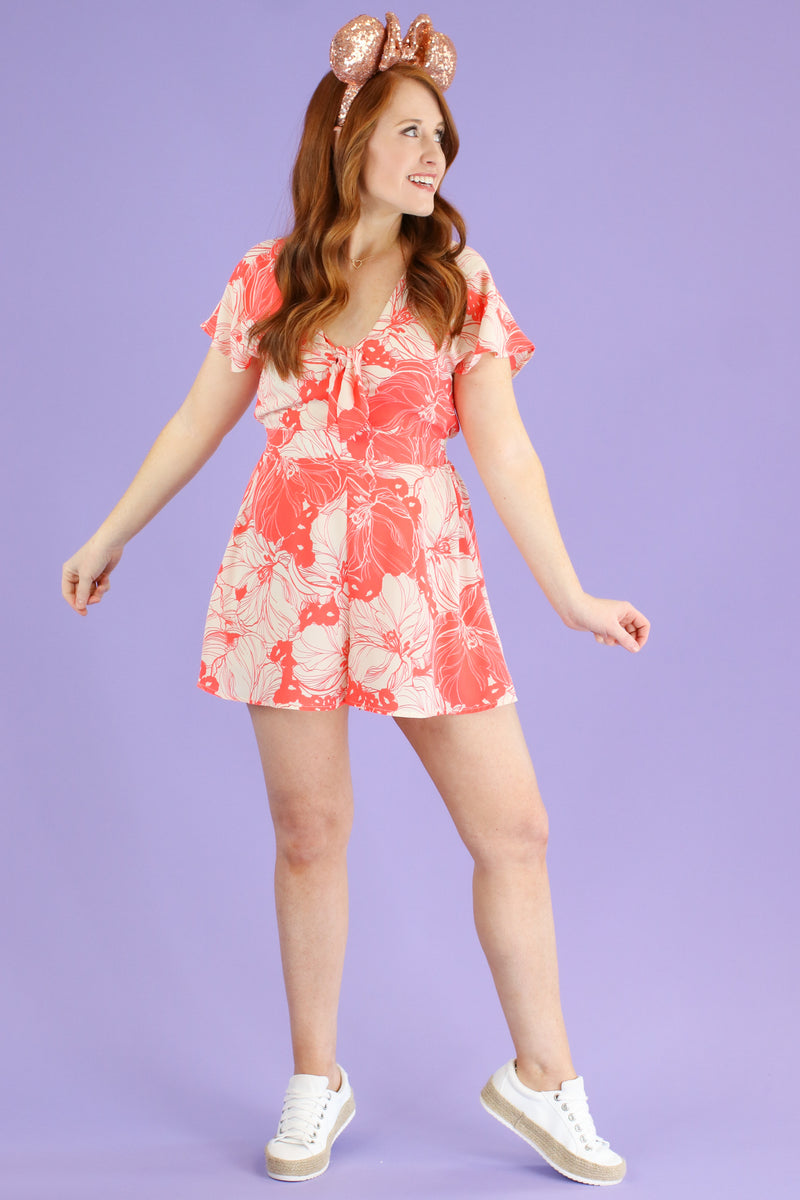 S / Coral Dreaming of This Floral Print Romper - FINAL SALE - Madison and Mallory