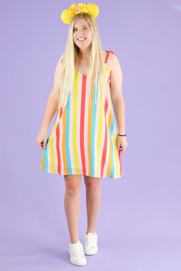 Tea Party Rainbow Striped Dress - FINAL SALE - Madison and Mallory