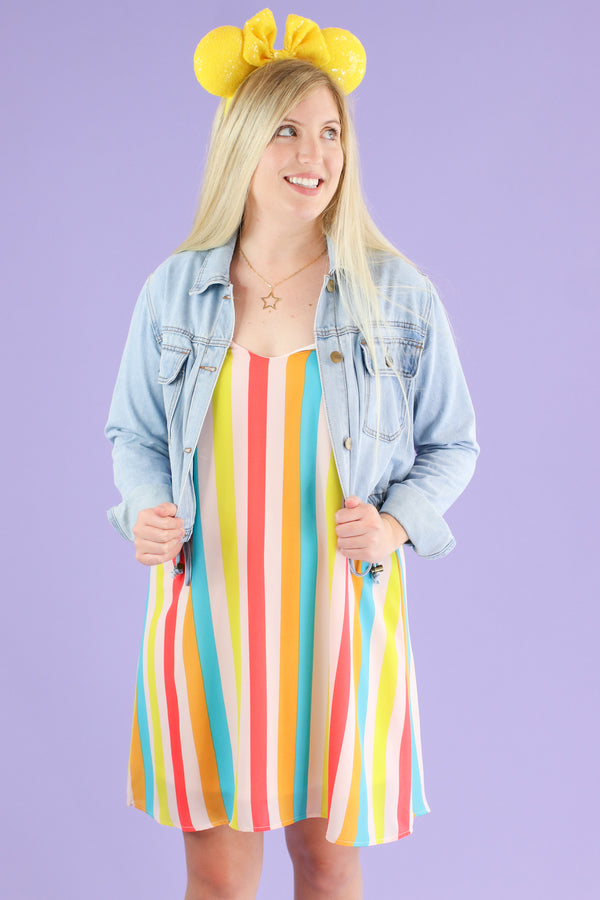Yellow / S Tea Party Rainbow Striped Dress - FINAL SALE - Madison and Mallory