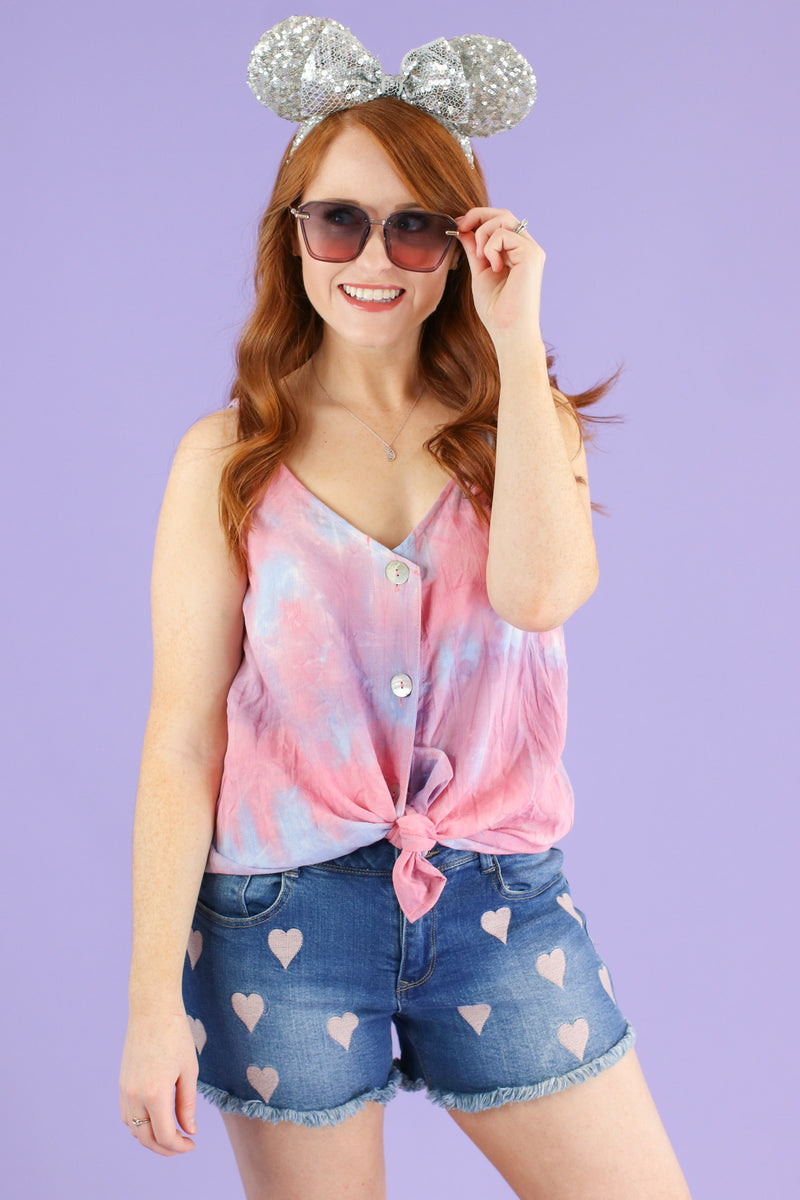 Past Life Tie Dye Button Top - FINAL SALE - Madison and Mallory