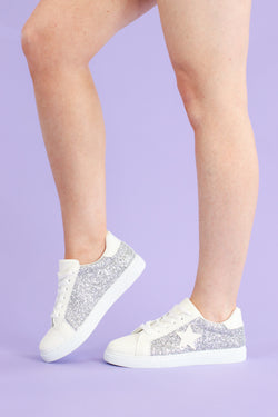 Get On Your Level Star Accent Sneakers - Silver - Madison and Mallory