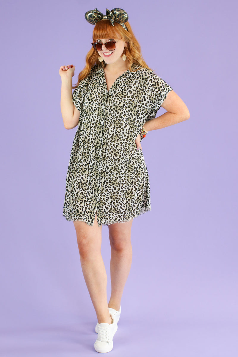 S / Olive Breaking Wild Animal Print Dress | CURVE - FINAL SALE - Madison and Mallory