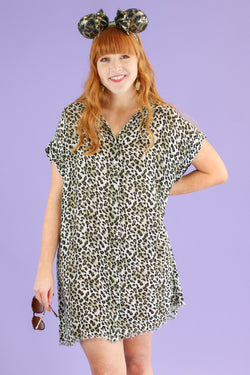 M / Olive Breaking Wild Animal Print Dress | CURVE - Madison and Mallory