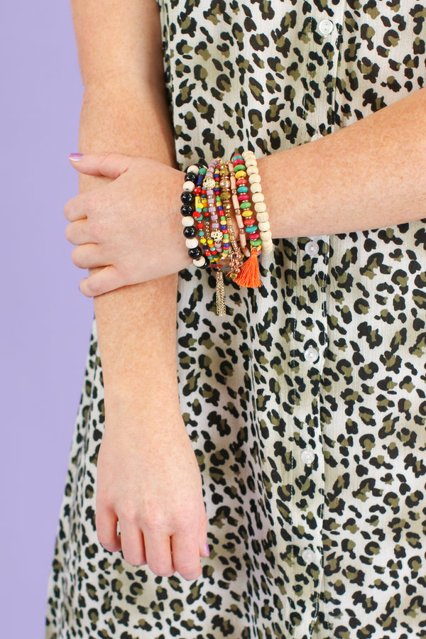 Multi Natural Treasure Multi Color Bracelet Stack - Madison and Mallory