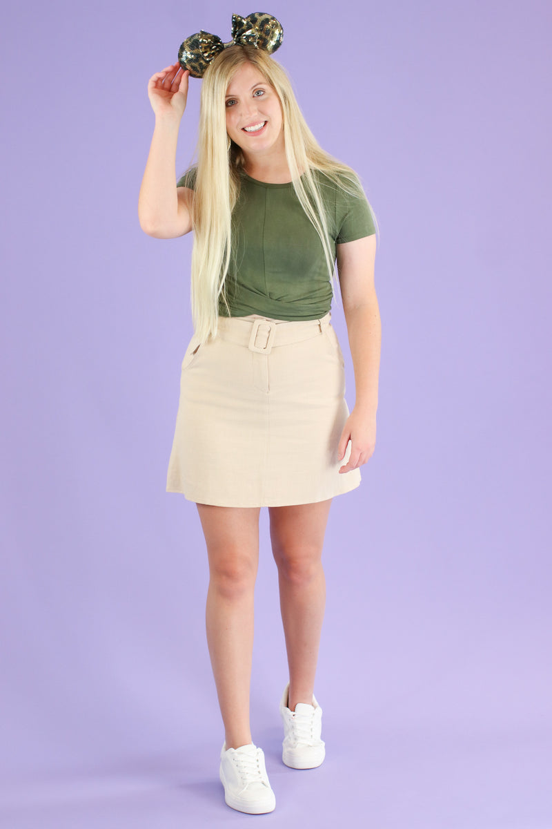 Jaylon Belt Accent Skirt - Madison and Mallory