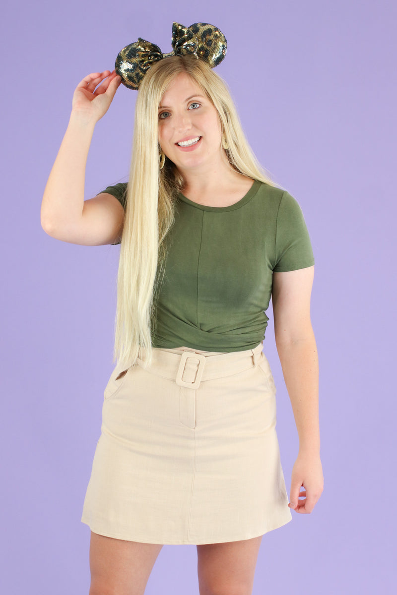 Olive / S Totally Knot Twist Front Top - Madison and Mallory