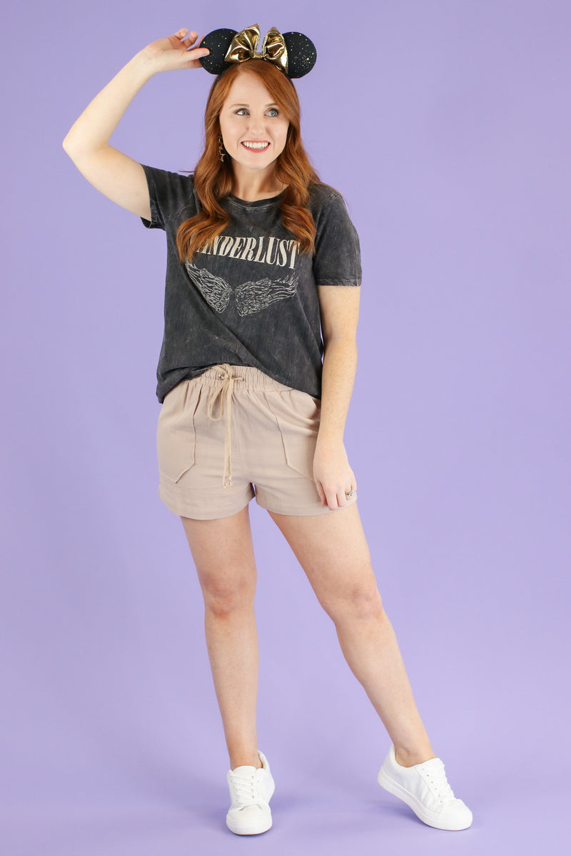 S / Charcoal Wanderlust Graphic Top - Madison and Mallory