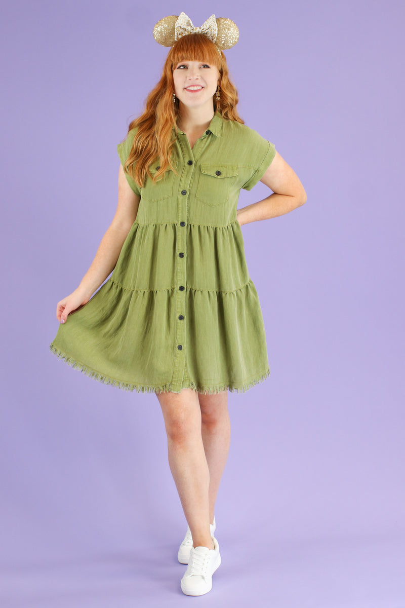 Light Olive / S Frontier Tiered Ruffle Dress | CURVE - Madison and Mallory