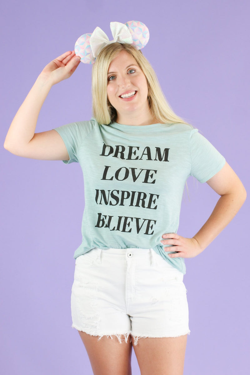 Mint / S Dream Love Inspire Believe Graphic Top - Madison and Mallory
