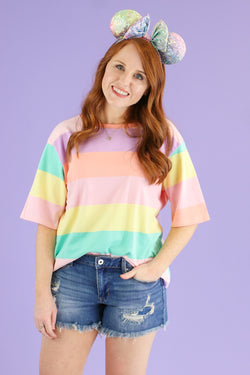 Light Pink / S Neverland Multi Color Striped Top - FINAL SALE - Madison and Mallory