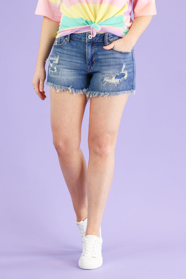 S / MD. Dark Aleena Mid Rise Frayed Shorts - FINAL SALE - Madison and Mallory