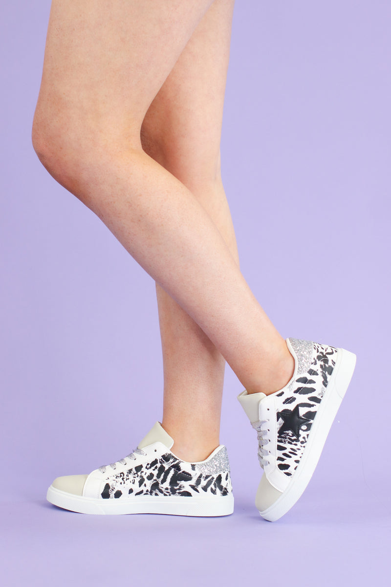 Get On Your Level Star Accent Sneakers - Animal - Madison and Mallory